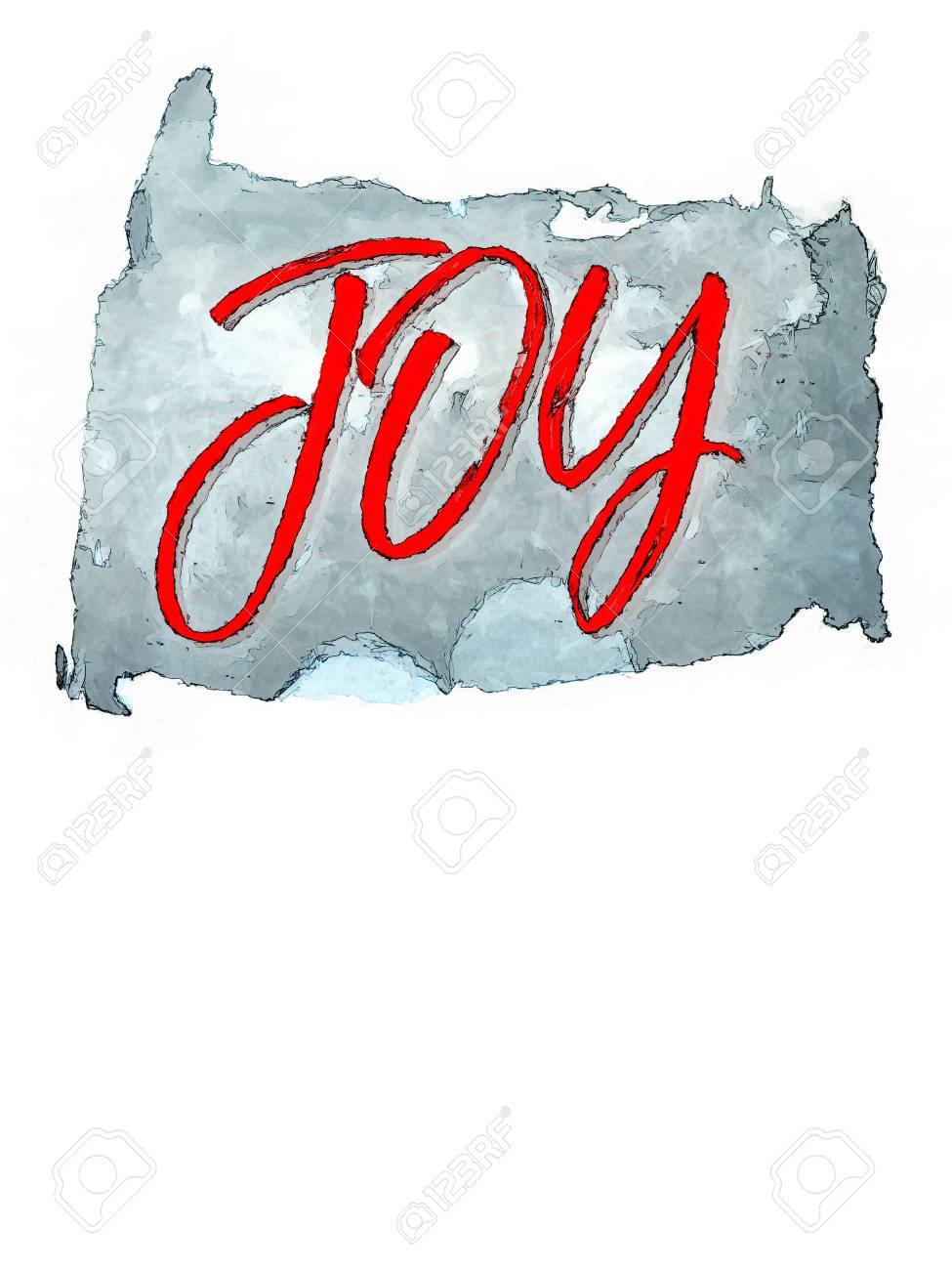 Simple Christmas Card Design With The Word Joy In Red On A Blue