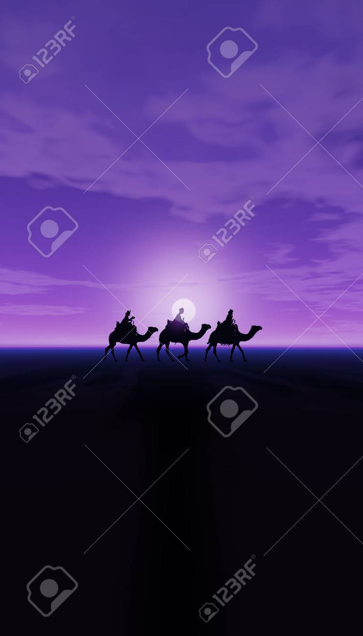 Three Kings Christmas Card With The 3 Wise Men On Camels A Simple Desert Landscape