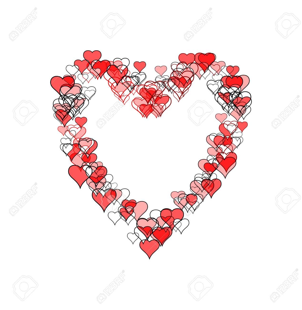 Large Heart Shape Made Of Many Smaller Heart Shapes Some Outline