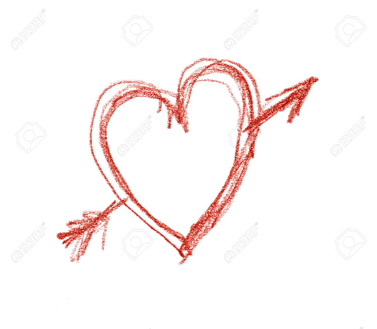 rough red pencil drawn heart shape with arrow through it on stock