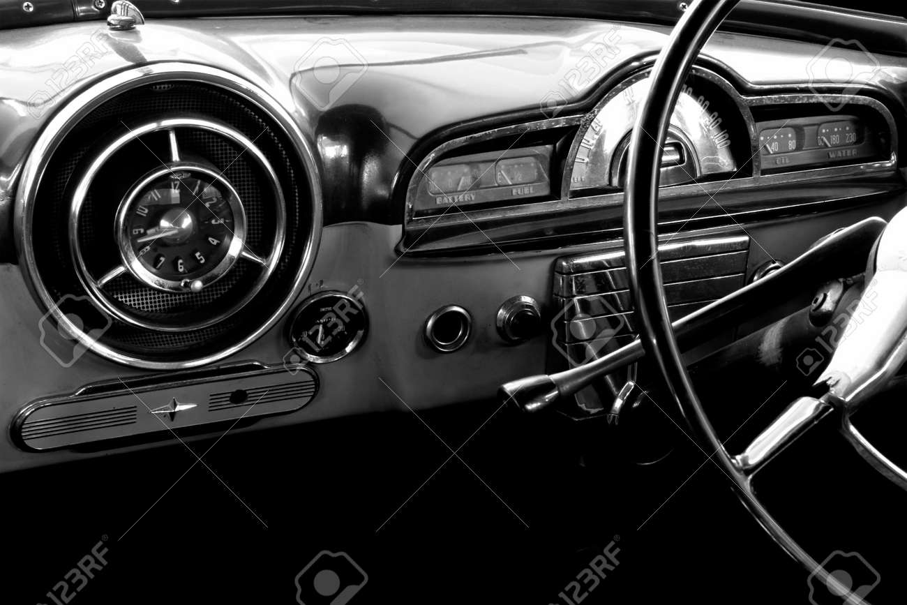 View of the interior of an old vintage car in black and white Stock Photo - 2577169