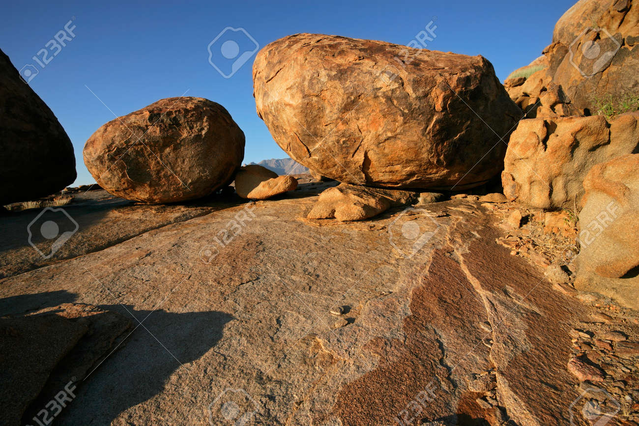 Large granite boulders, Brandberg mountain, Namibia, southern Africa Stock Photo - 9029062