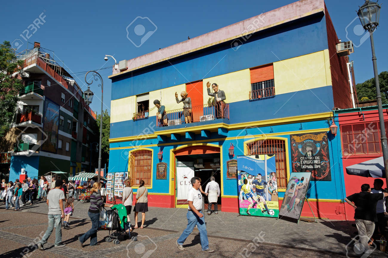 Buenos Aires, Argentina, 27 March 2011 - Caminito street, La Boca, with colorfully painted buildings which is a major tourist attraction in the city - 12689925