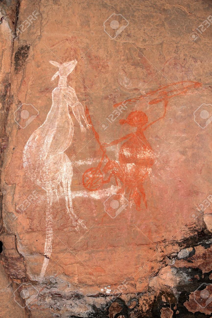 Aboriginal rock art - Kangaroo - at Nourlangie, Kakadu National Park, Northern Territory, Australia - 13413673
