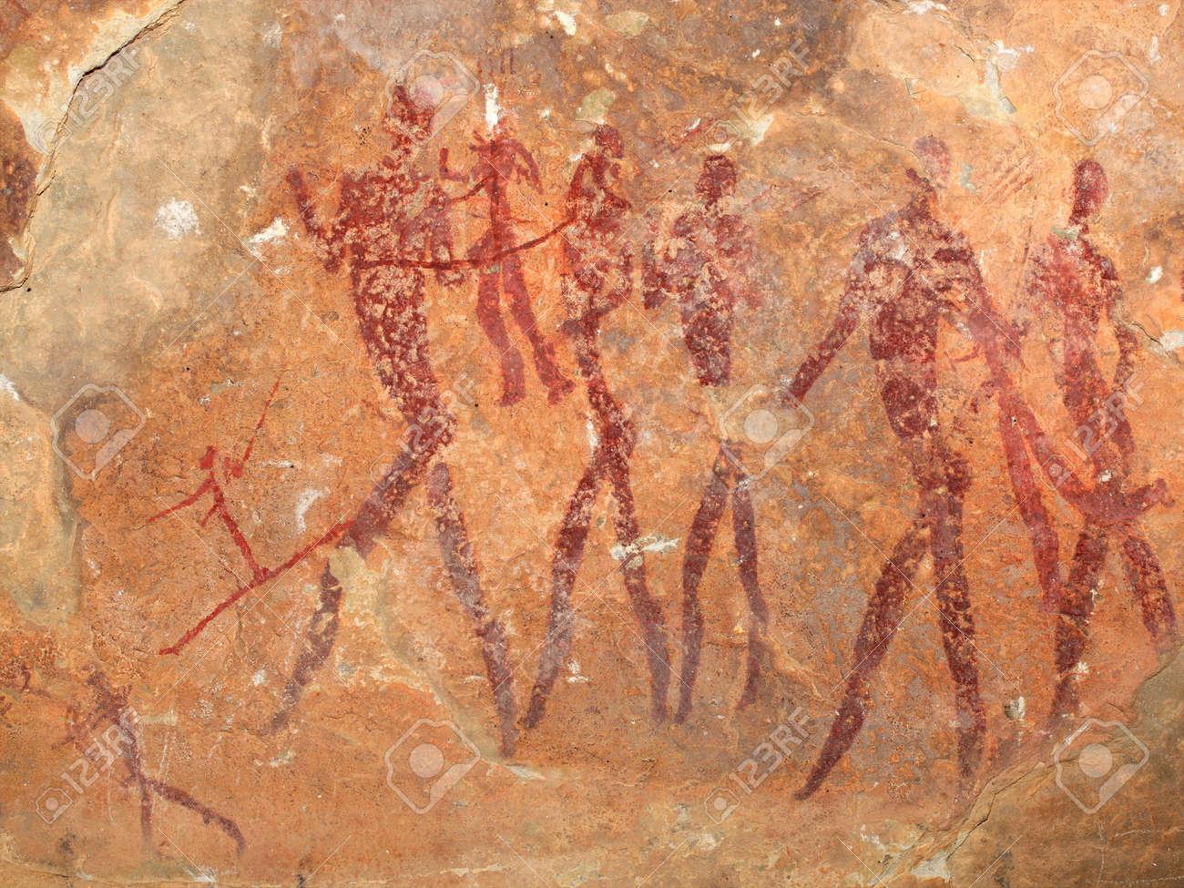 Bushmen (san) rock painting depicting human figures, South Africa - 13885573