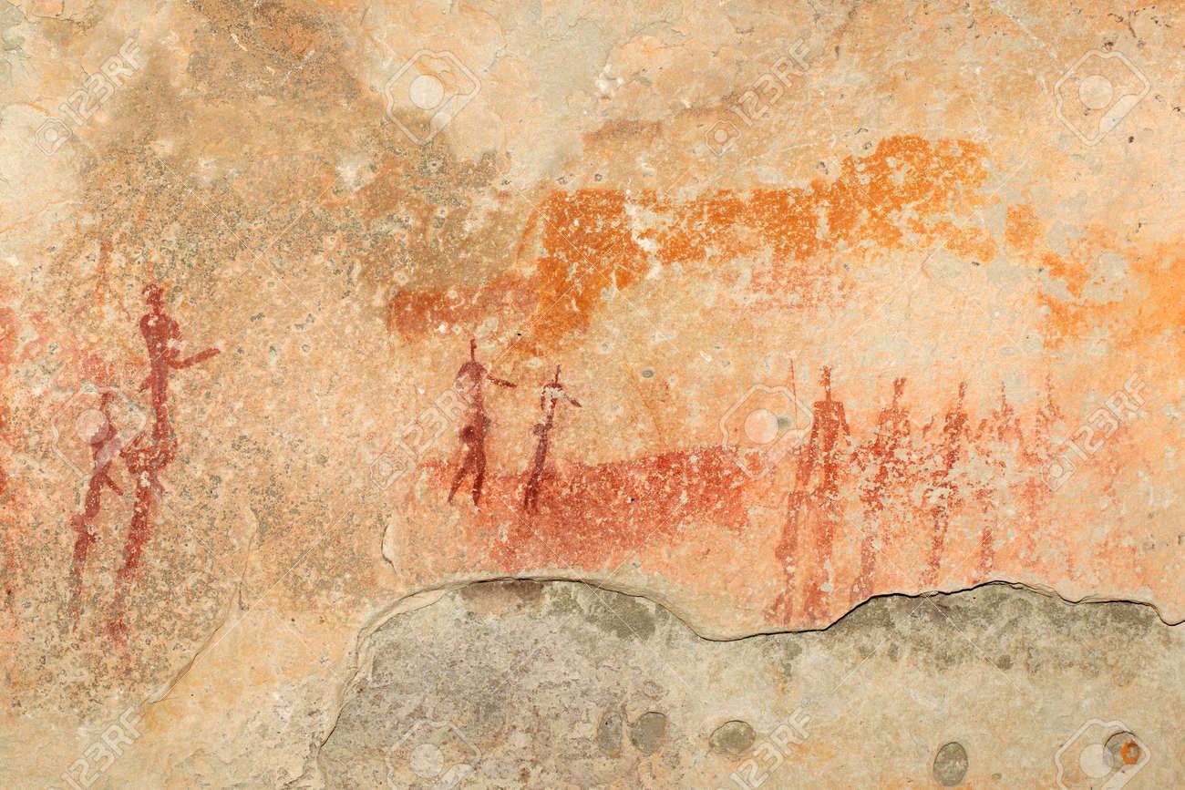 Bushmen - san - rock painting depicting human figures, South Africa - 14151987