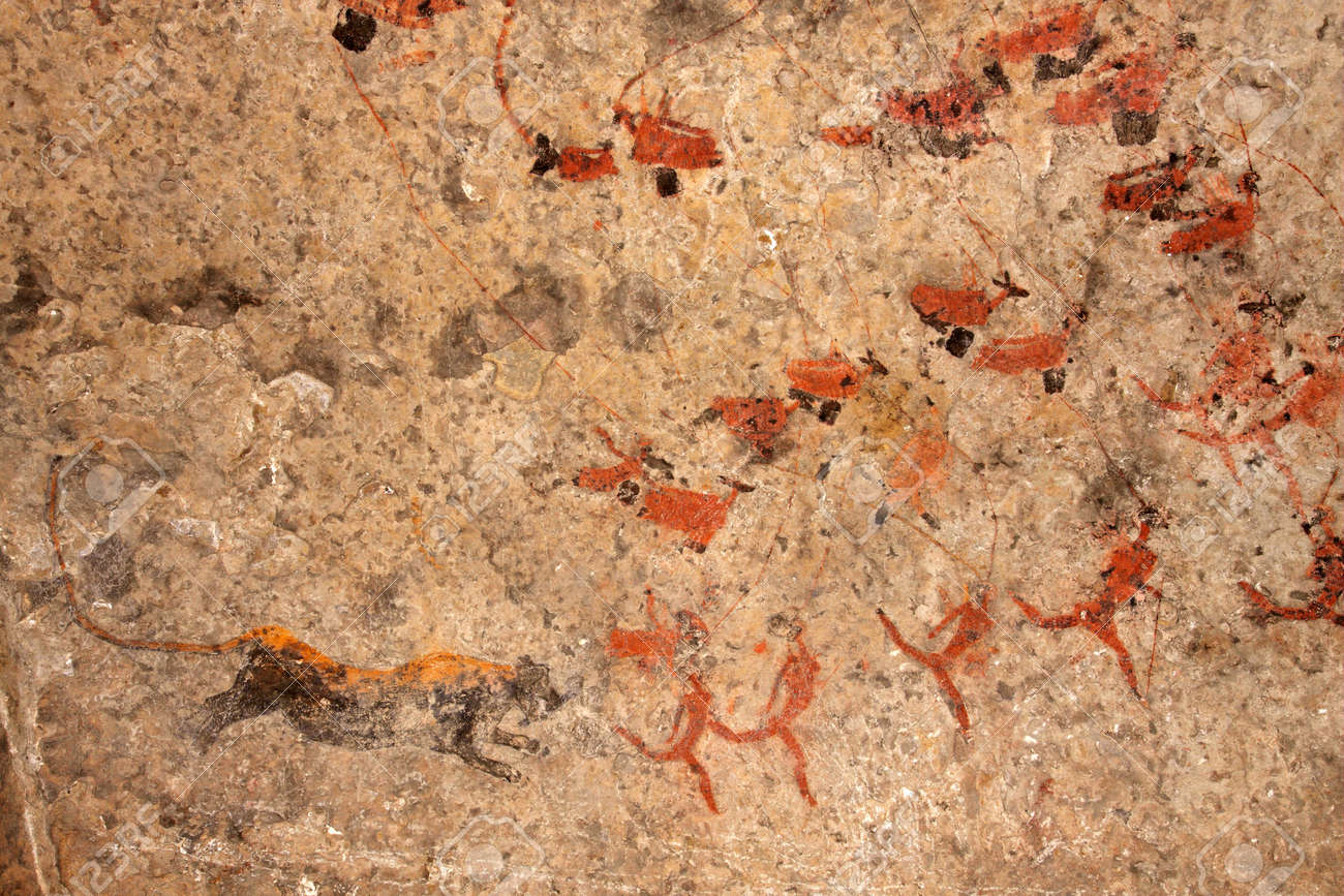 Bushmen (san) rock painting of human figures, antelopes and a predator (leopard), South Africa - 14654207