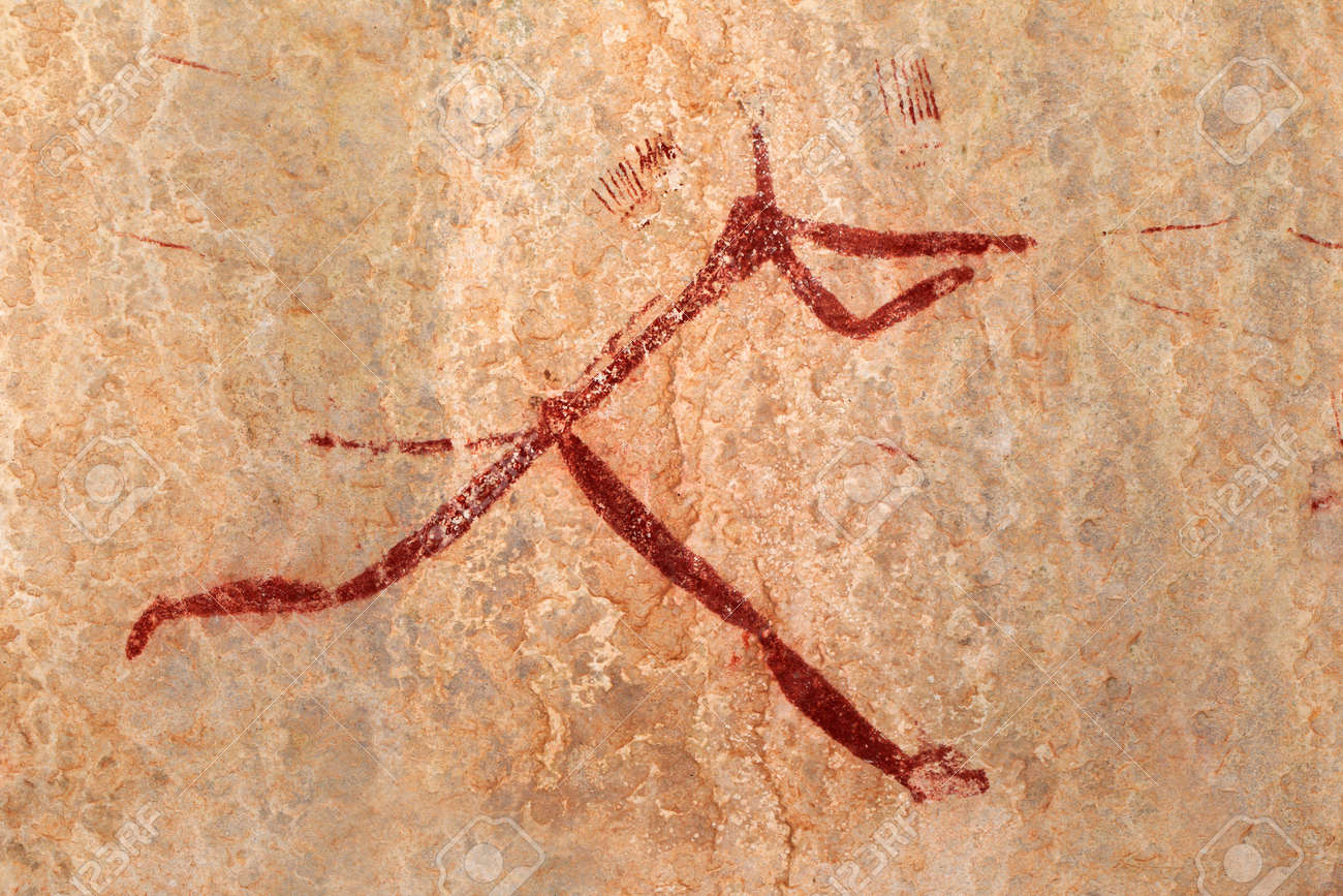 Bushmen - san - rock painting depicting a human figure, Drakensberg mountains, South Africa - 17726413