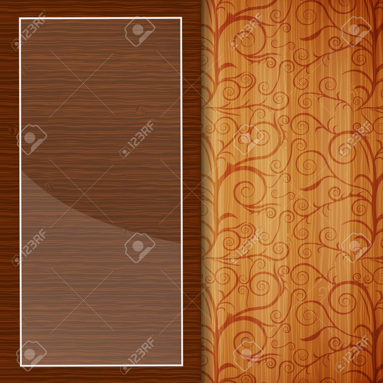 Wood brochure with floral ornament Stock Vector - 16958809