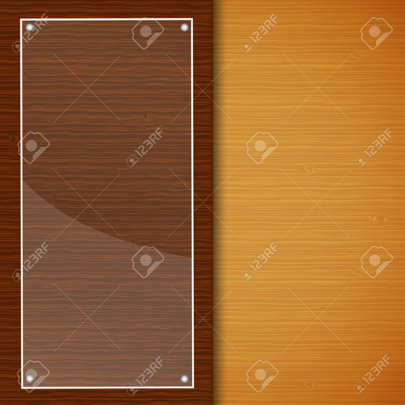 Wood brochure with glass frame Stock Vector - 17105283