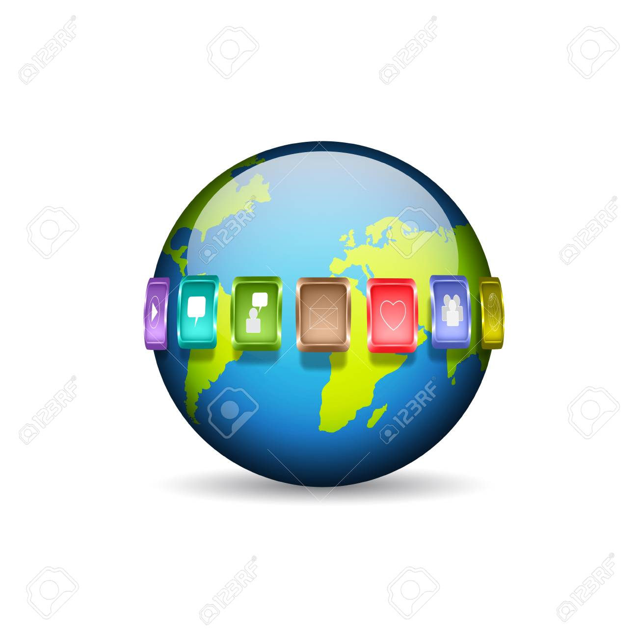 Planet with media icons Stock Vector - 19351896