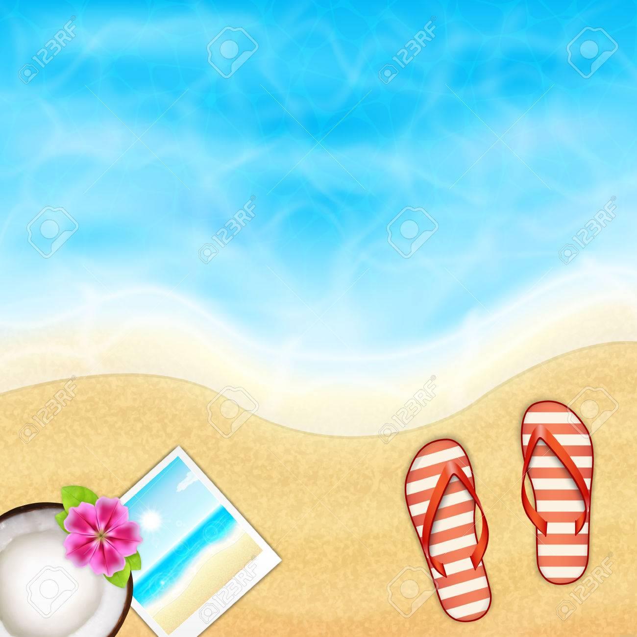 Fondo De Vacaciones De Verano. Mar Tópica Y La Playa Con Flip-flop ...