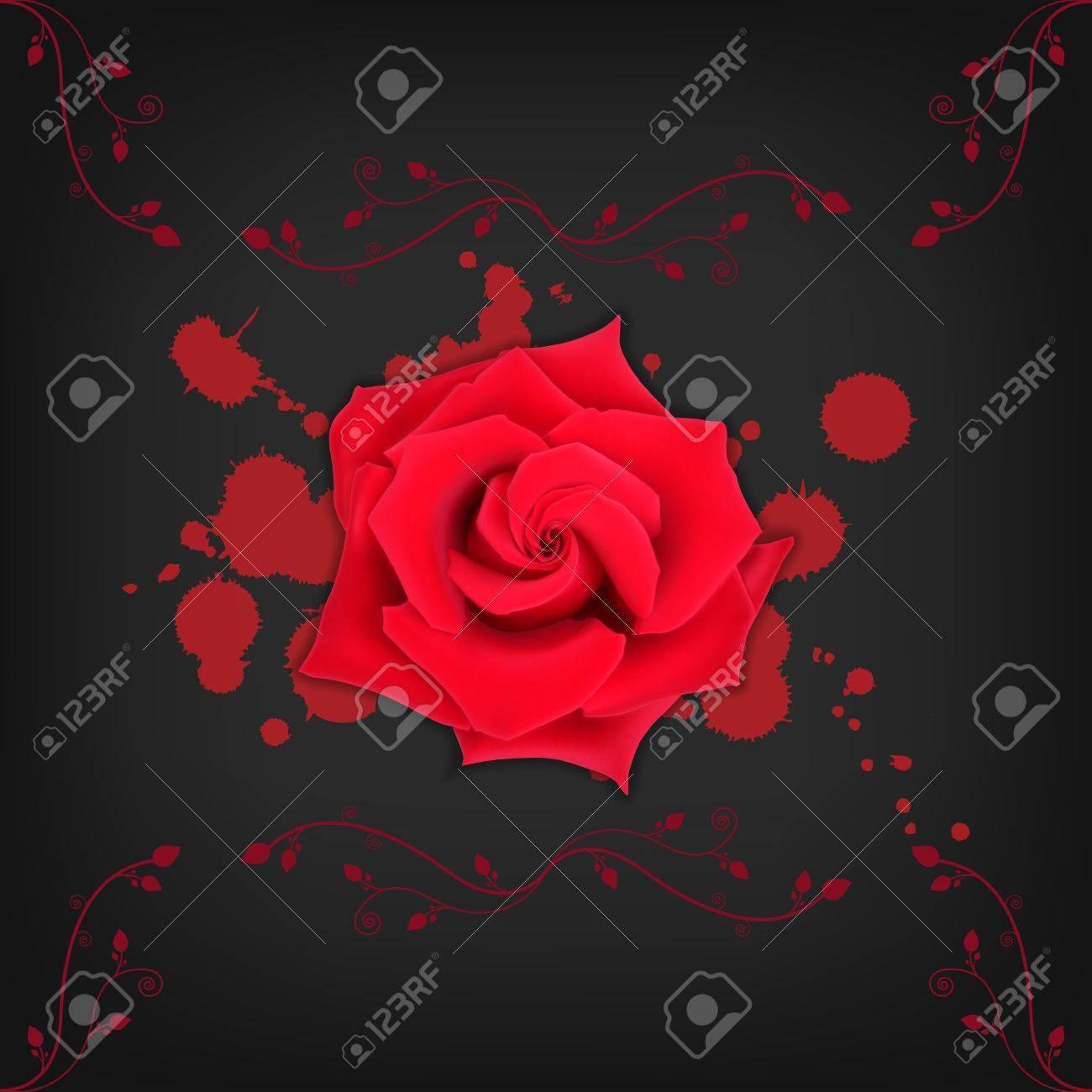 Vettoriale Rosa Rossa Con Spruzzi Su Sfondo Nero Spruzzi