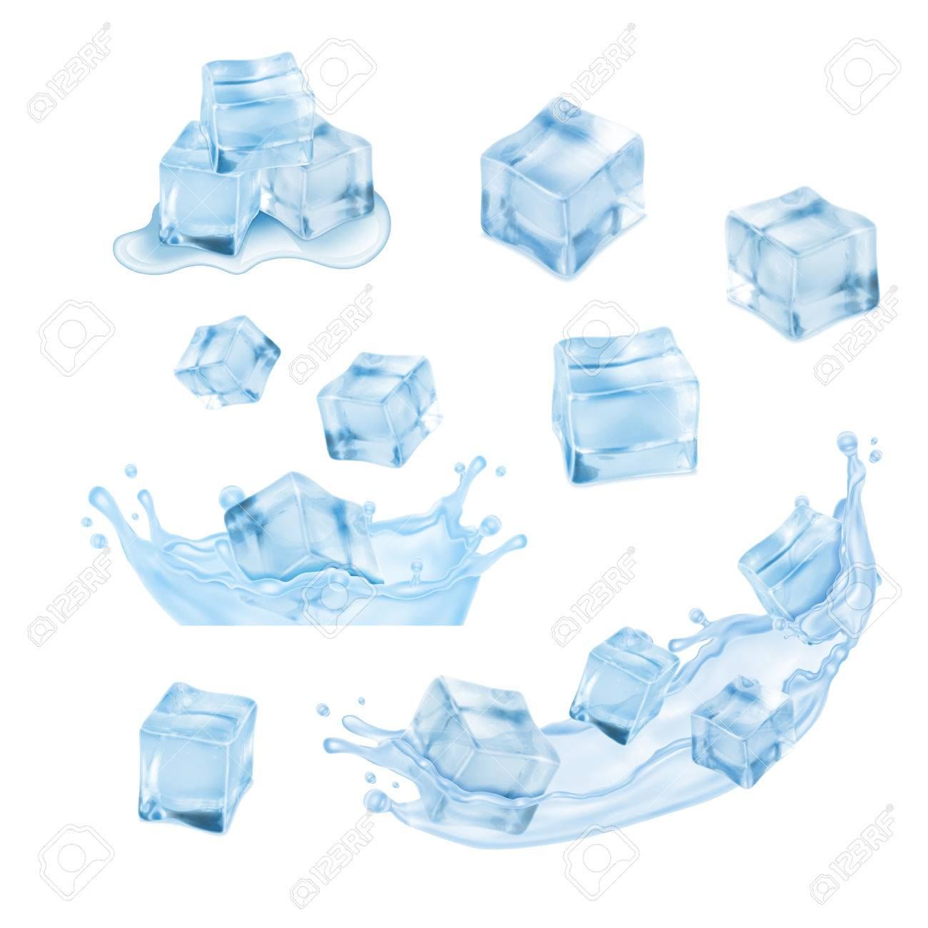 ice cubes with water splash vector icon set royalty free cliparts vectors and stock illustration image 52125905 ice cubes with water splash vector icon set