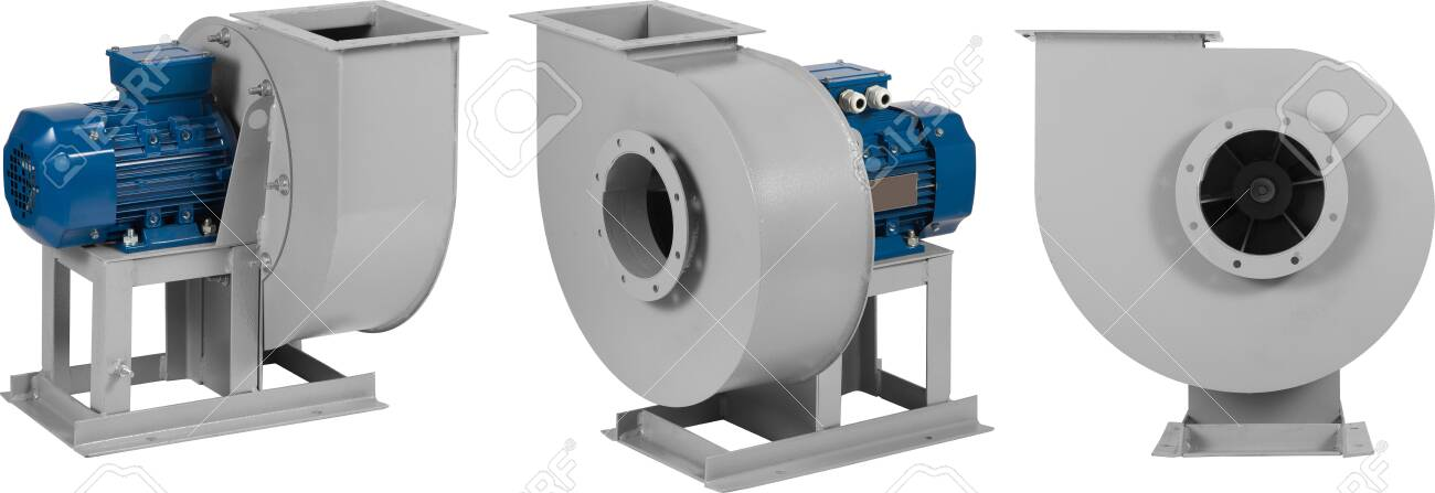 Industrial air blower turbine fan for ventilation and air conditioning isolated on white background. - 132840363