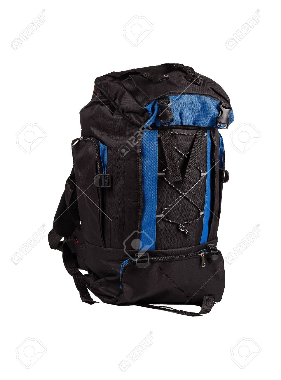 Blue and black camping backpack isolated on white background. - 132842876