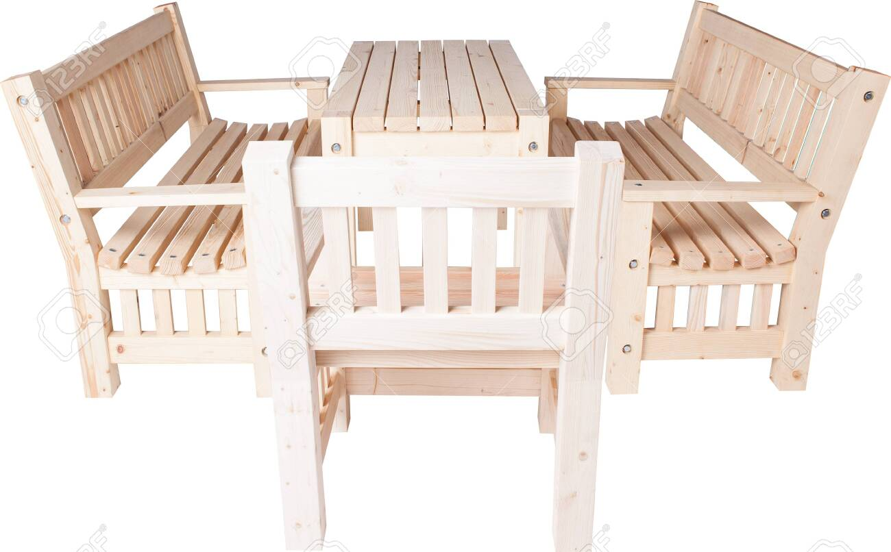 Picture of: Garden Furniture Set Of Chairs Bench And Table Isolated On White Stock Photo Picture And Royalty Free Image Image 135721576