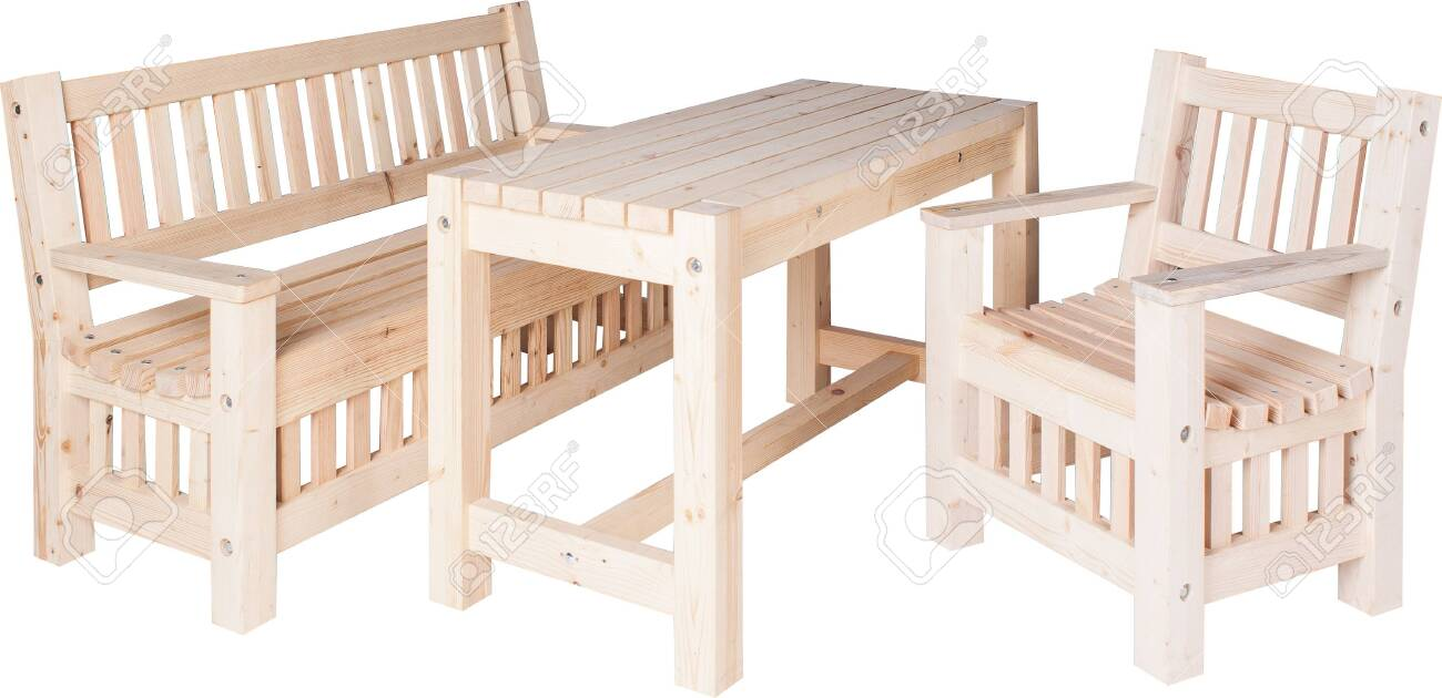 Picture of: Garden Furniture Set Of Chairs Bench And Table Isolated On White Stock Photo Picture And Royalty Free Image Image 135721793