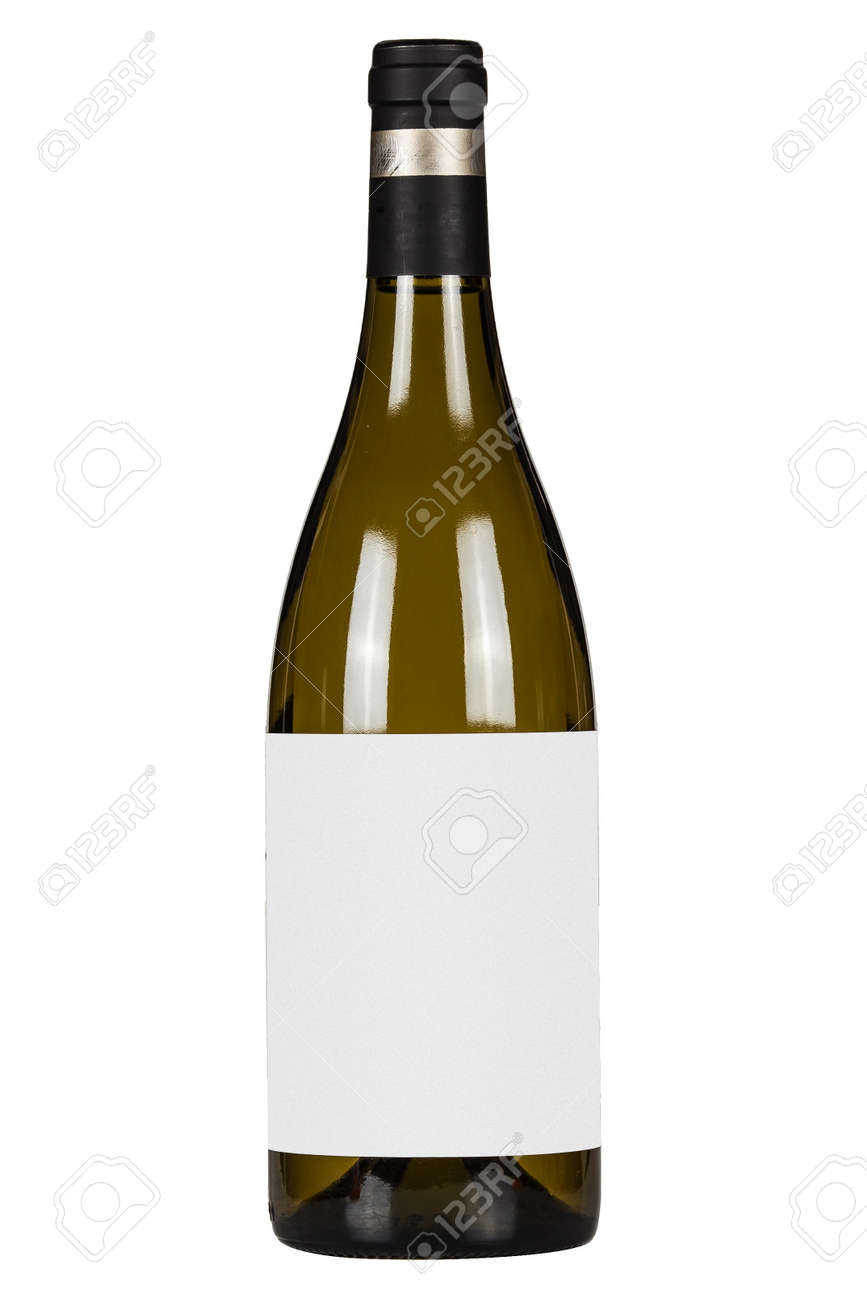 White wine bottle with blank lable isolated on white background - 172277303