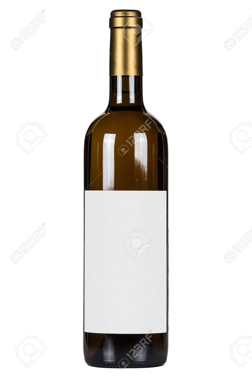 White wine bottle with blank lable isolated on white background - 172277448