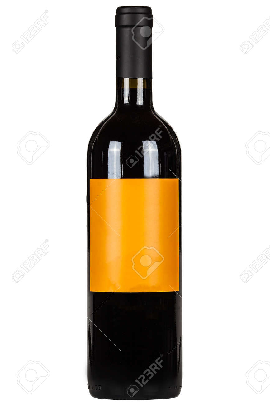 Red wine bottle with orange lable isolated on white - 172306883