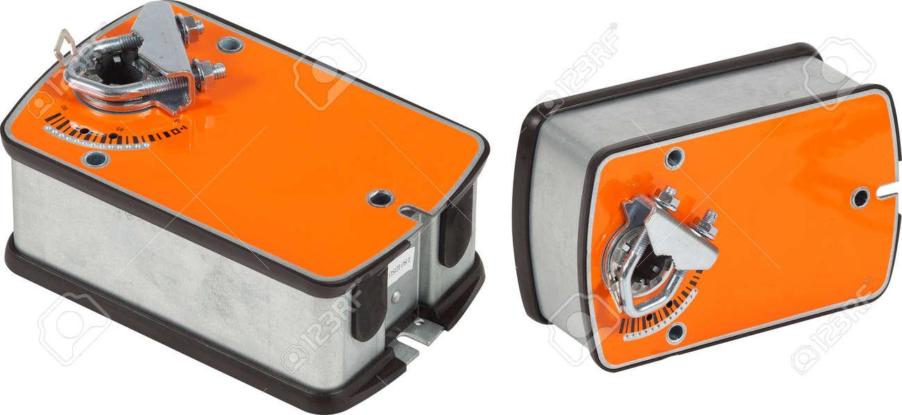 Orange ventilation damper actuator isolated. - 172306852