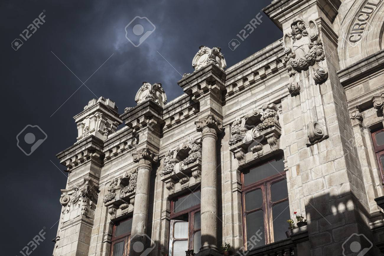 Quito Old Town Colonial Architecture Detail Ecuador Stock Photo