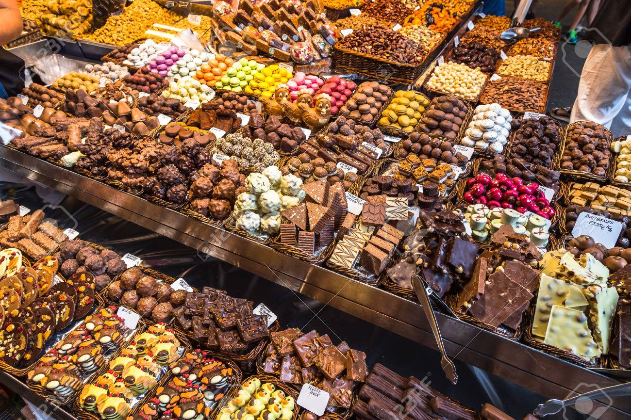 Variety Of Chocolates Made From Chocolate Ready For Sale In The