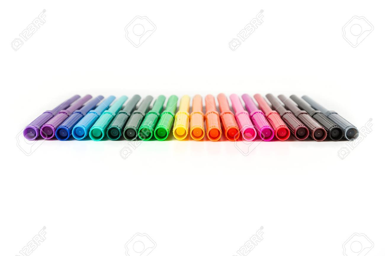 Rainbow colored pack of markers isolated on white background