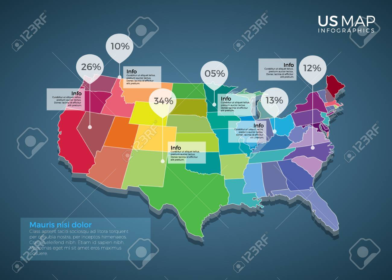 Us Map Infographics Design Vector Template Illustration Template