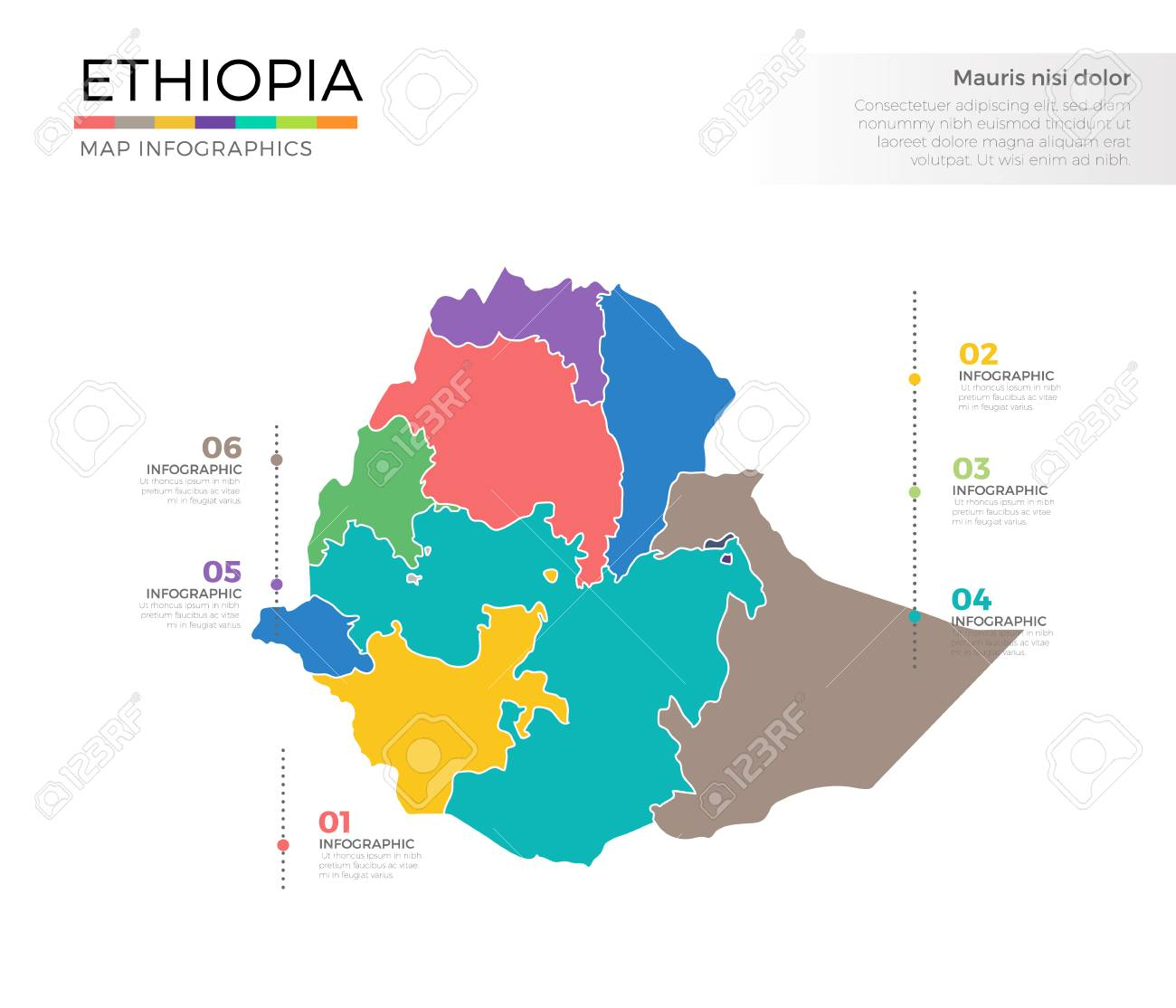 Ethiopia country map infographic colored vector template with