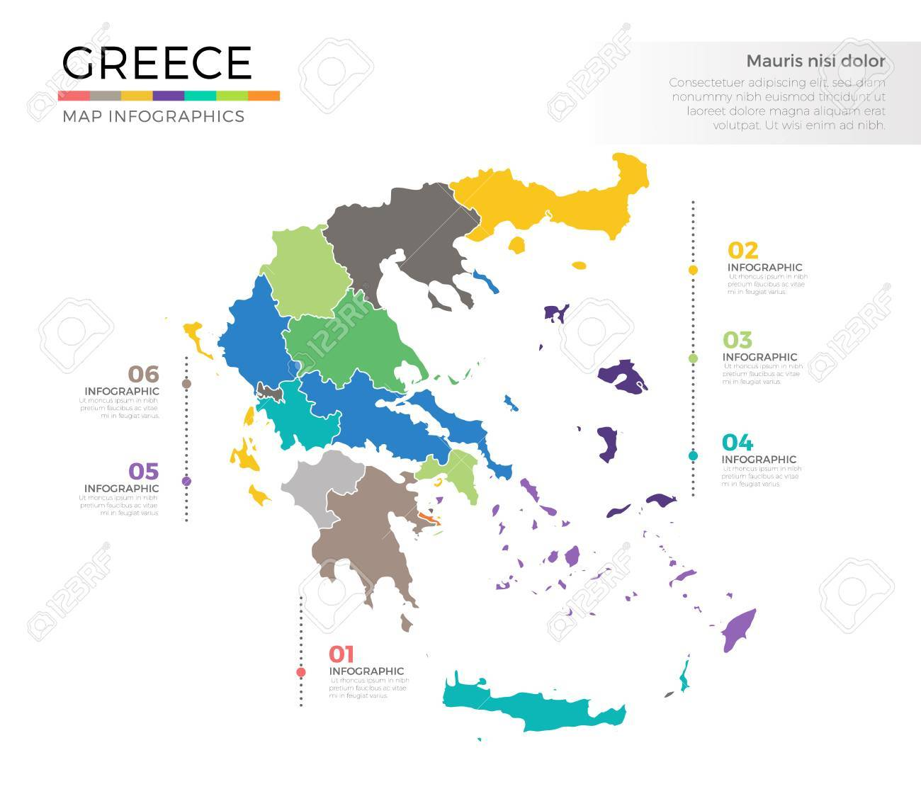Country Of Greece Map.Greece Country Map Infographic Colored Vector Template With Regions