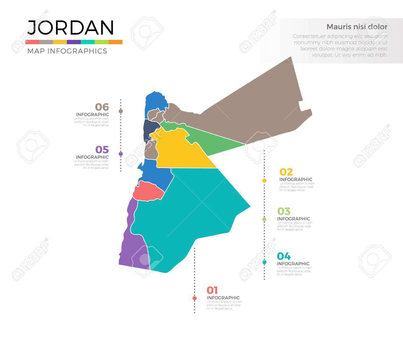 Jordan country map infographic colored vector template with regions jordan country map infographic colored vector template with regions and pointer marks stock vector 85005820 gumiabroncs Image collections