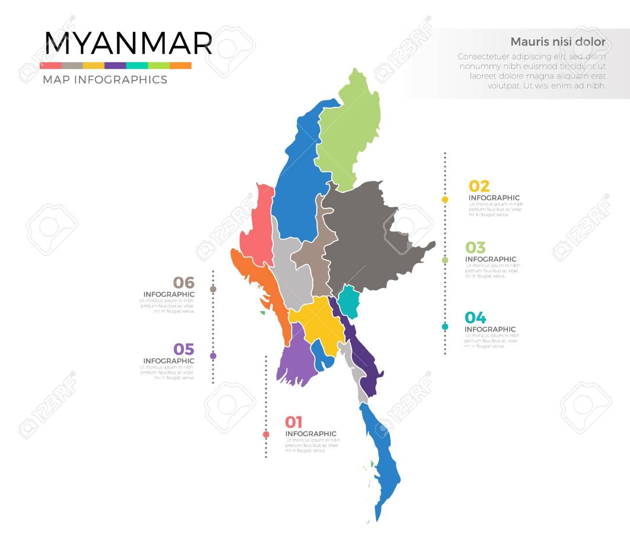 Birmanie Carte Regions.Myanmar Pays Carte Infographique Couleur Vecteur Modele Avec Des