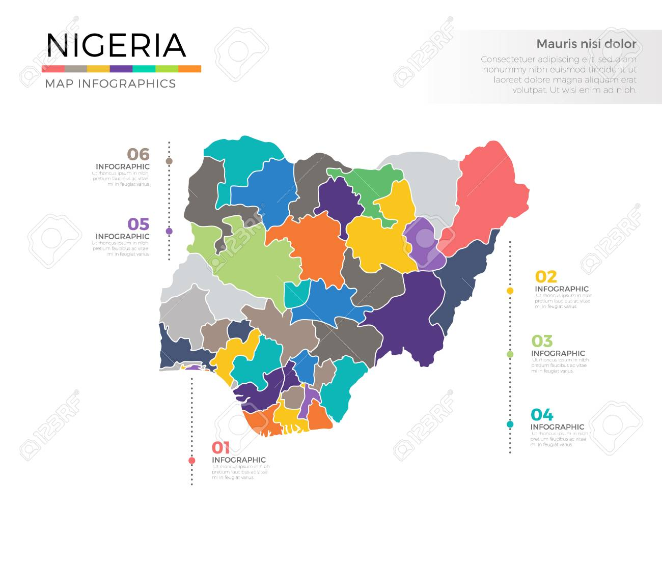 Plantilla De Vector Coloreado Infografía Nigeria País Mapa Con ...