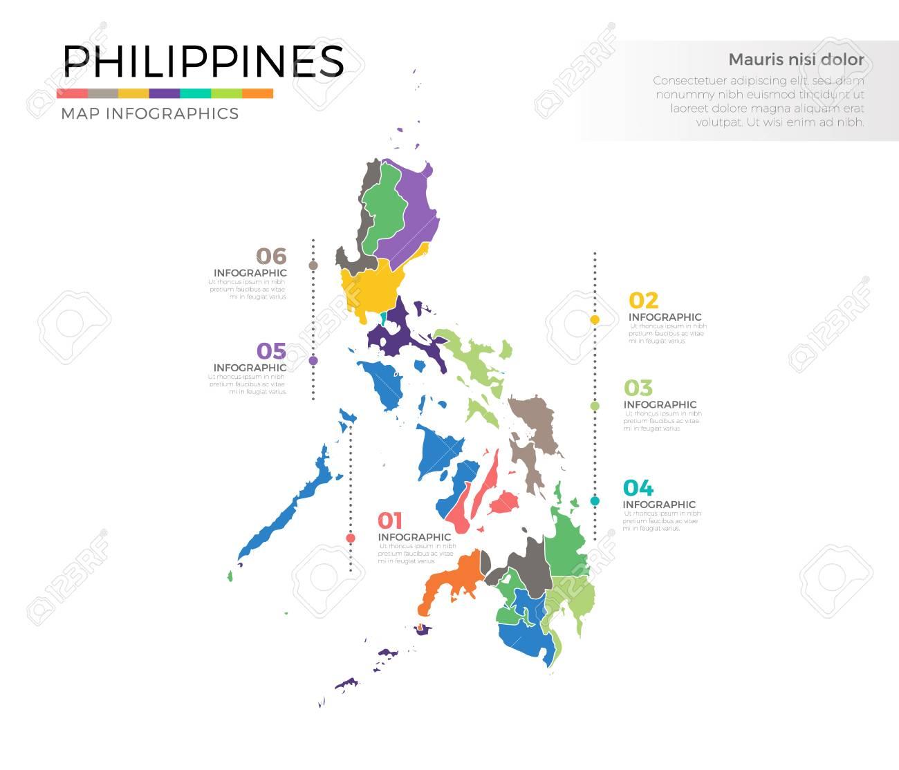 Plantilla Coloreada Infografía Filipinas País Mapa Con Regiones Y ...