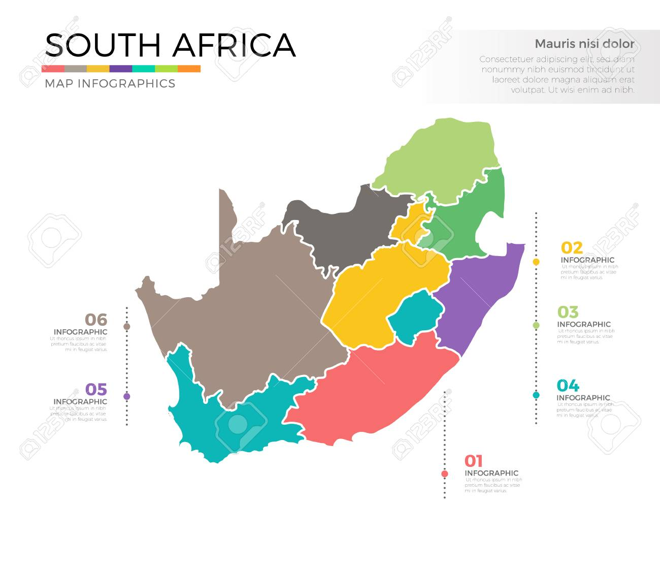 South Africa Country Map Infographic Colored Vector Template