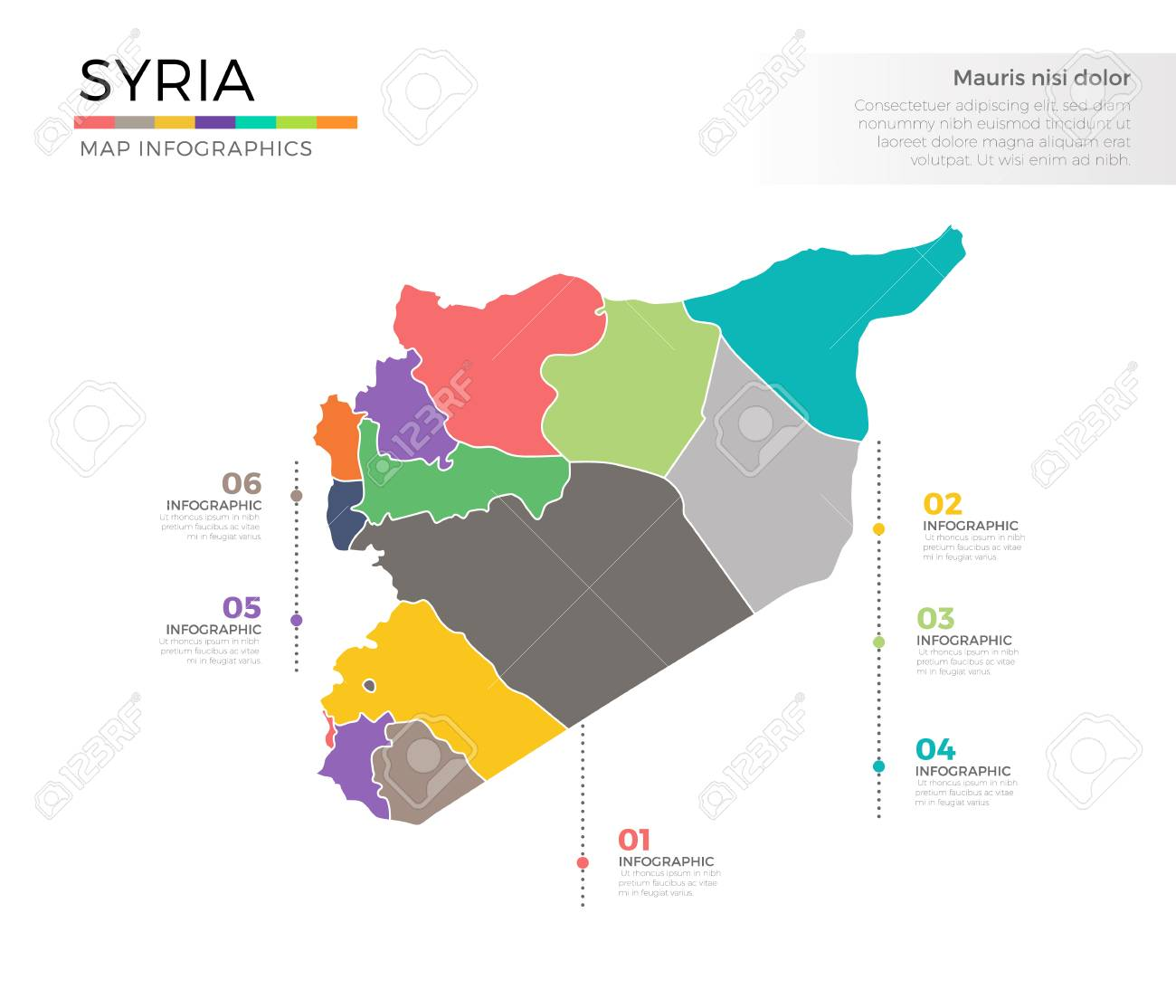 Syria Country Map Infographic Colored Vector Template With Regions And Pointer Marks Stock