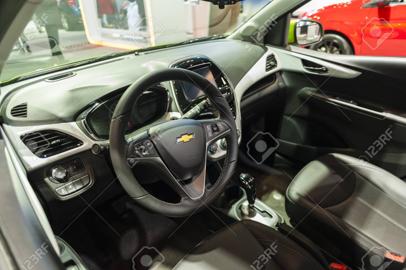 New York, USA - March 23, 2016: Chevrolet Spark Interior On Display ...