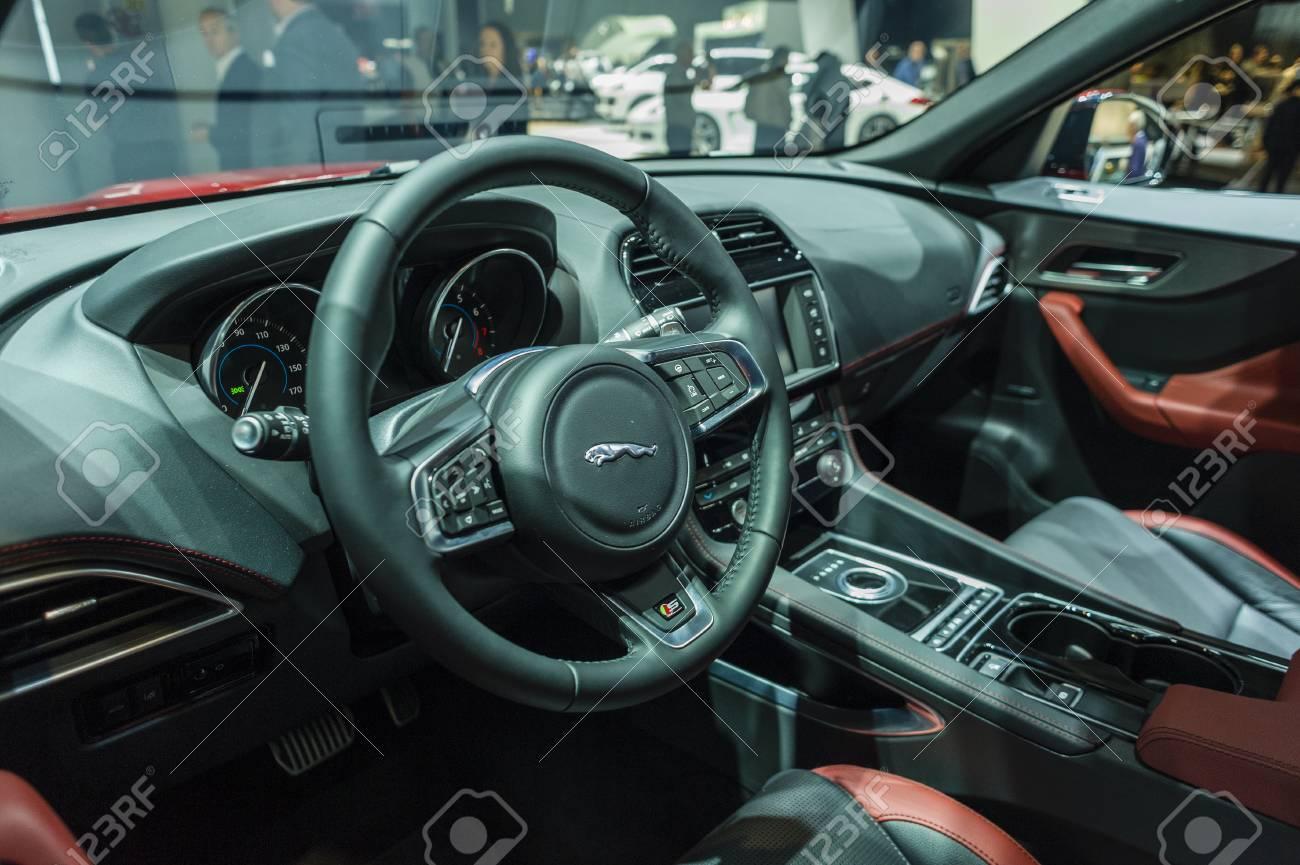 New York, USA - March 24, 2016: Jaguar F-Pace Interior On Display ...