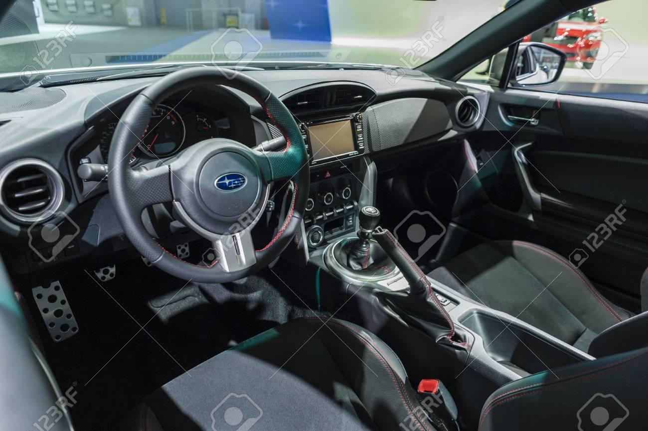 New York Usa March 24 2016 Subaru Brz Interior On Display