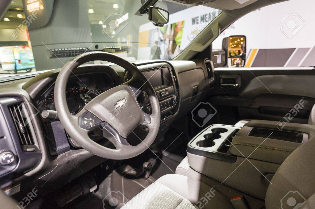 New York, USA   March 24, 2016: Chevrolet Silverado Interior On Display  During