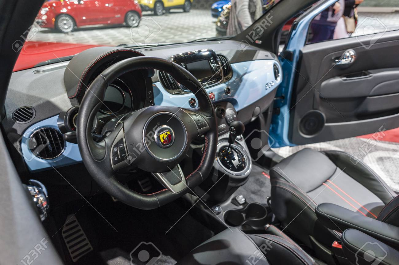 2016 Fiat 500 Abarth >> New York Usa March 24 2016 Fiat 500 Abarth Interior On Display