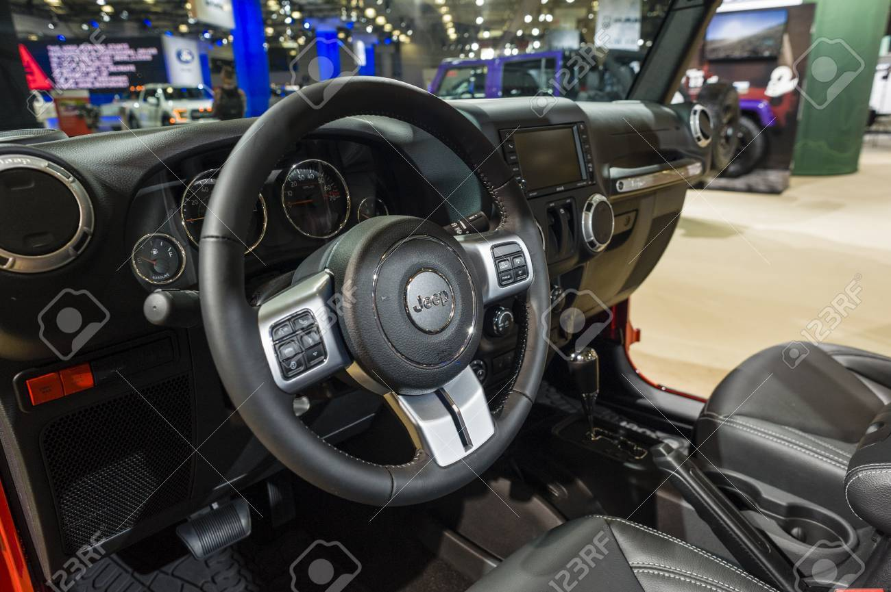 New York, USA   March 24, 2016: Jeep Wrangler Rubicon Hard Rock Interior