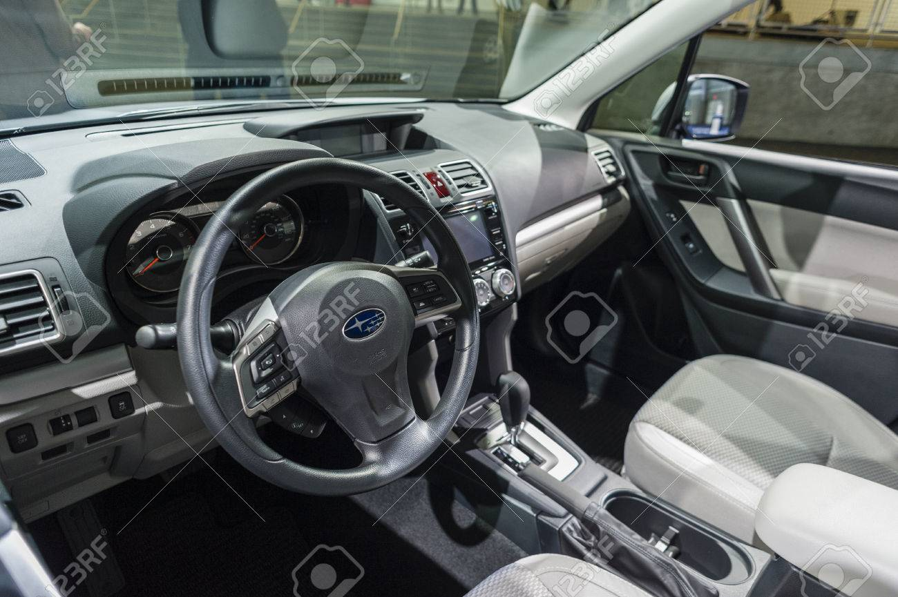 New York, USA   March 24, 2016: Subaru Forester Interior On Display During