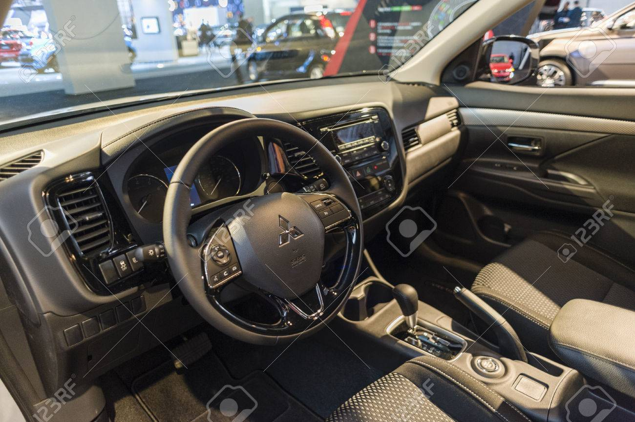 new york usa march 24 2016 mitsubishi outlander interior on display during
