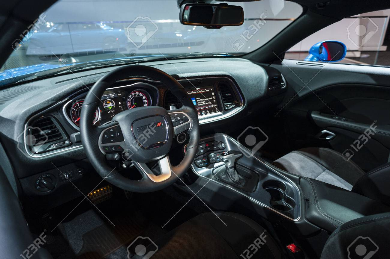 New York, USA   March 23, 2016: Dodge Challenger Interior On Display During