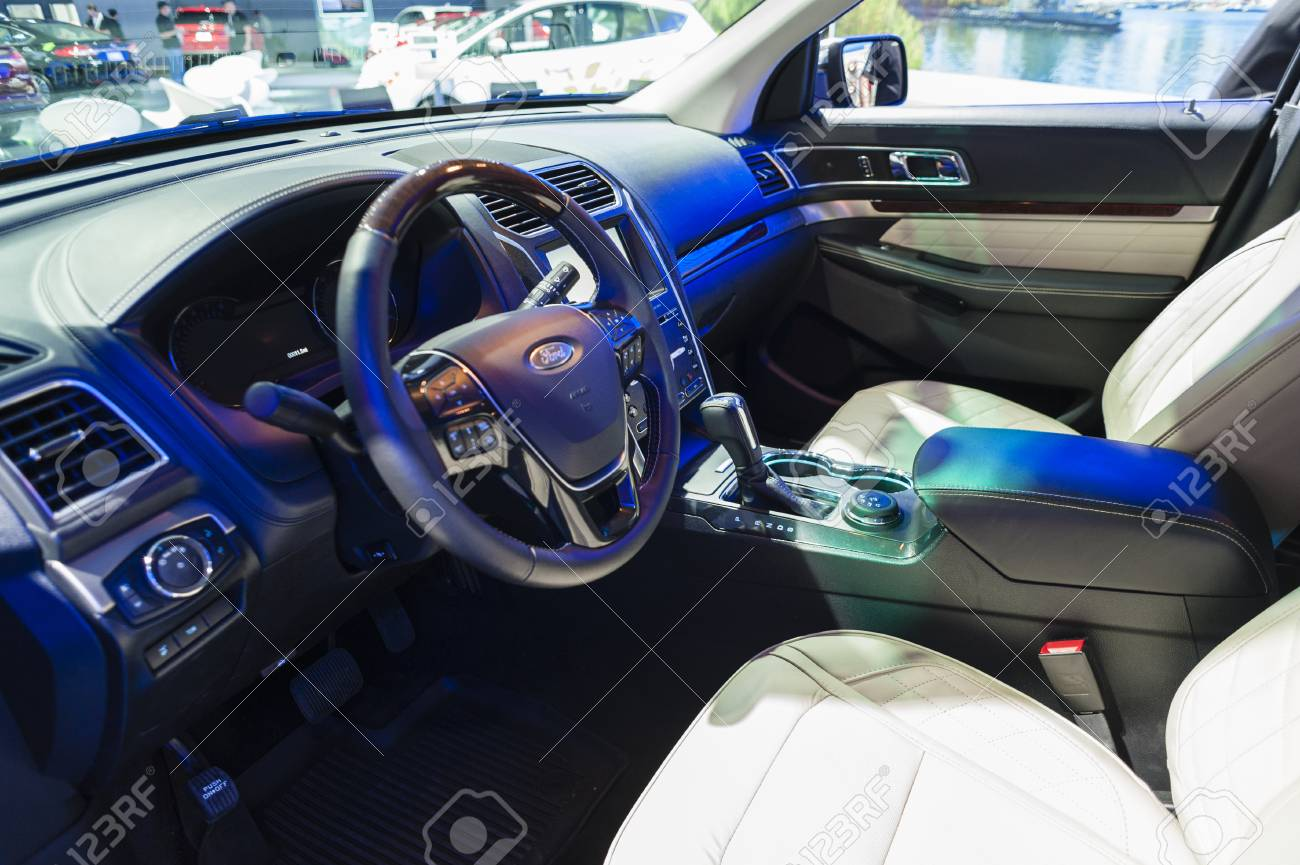 New York, USA   March 23, 2016: Ford Explorer Interior On Display During