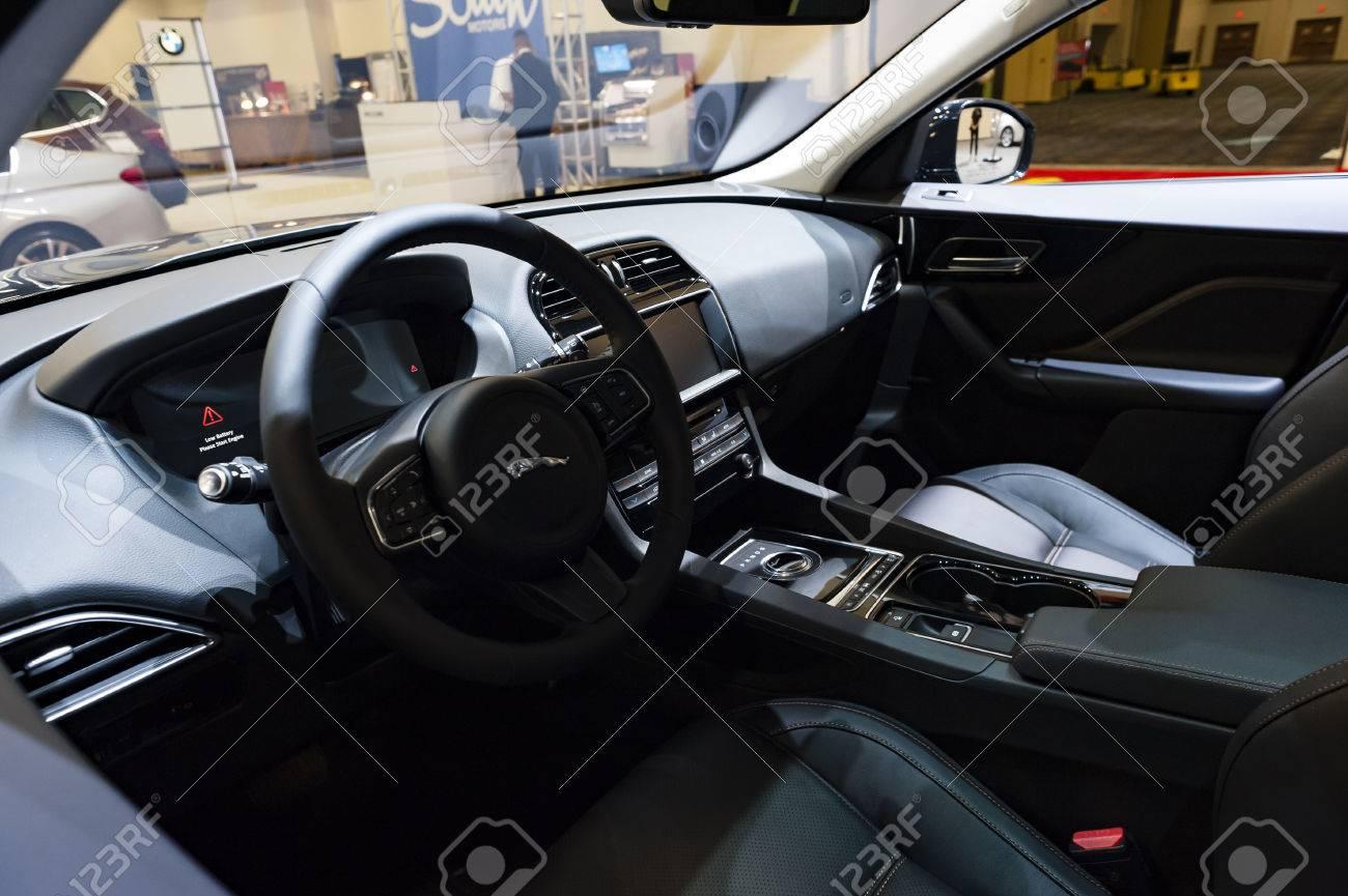 Miami, USA   September 10, 2016: Jaguar F Pace Prestige SUV Interior