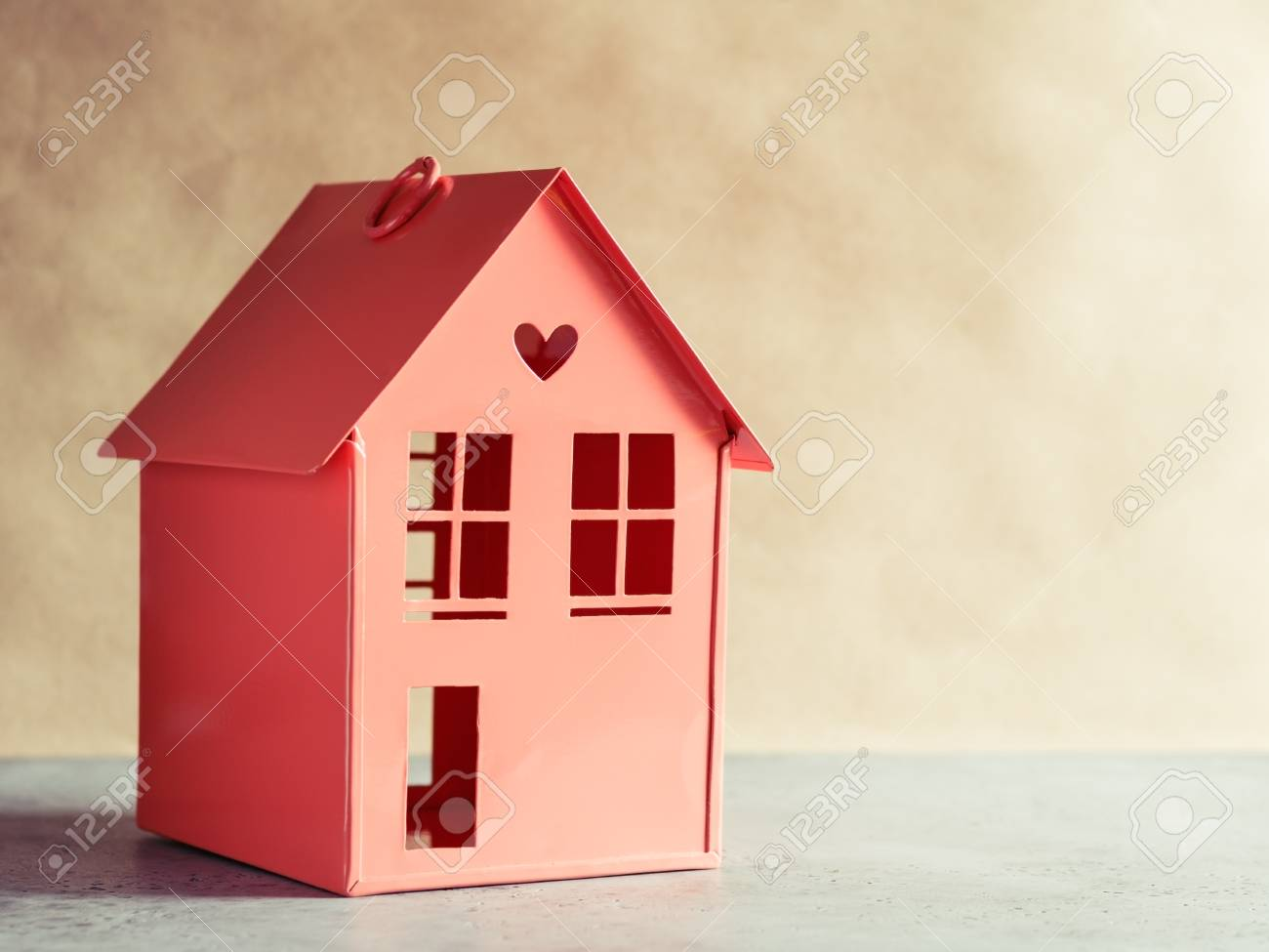 Metal Red Model Of A House With Heart The Concept Home And Domestic